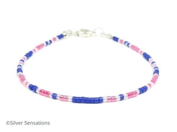 Slim Pink, Purple & White Seed Bead Stacking Bracelet | Silver Sensations